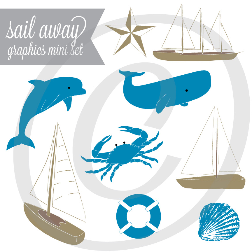 Sail Away Nautical Graphic Set