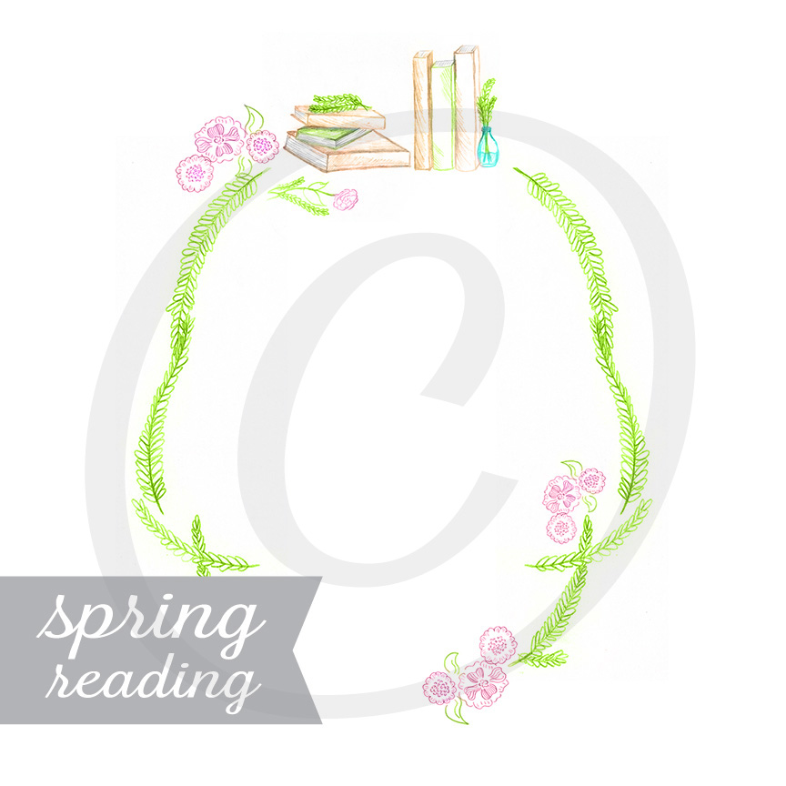 Spring Reading Hand Illustrated Graphic