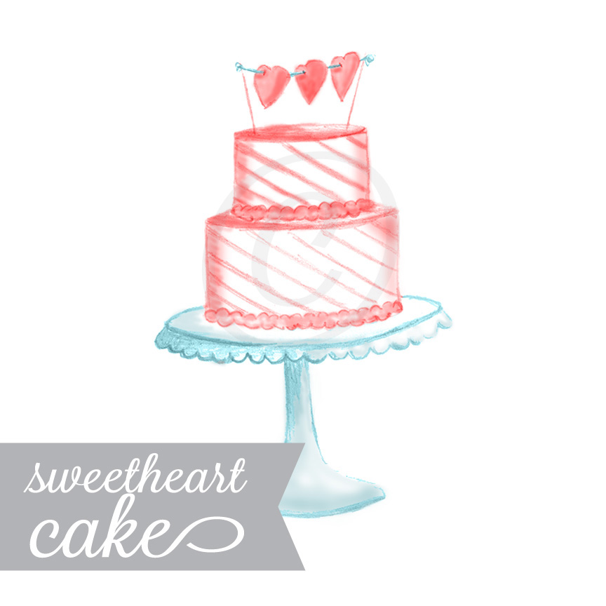 Sweetheart Cake Hand Illustrated Graphic