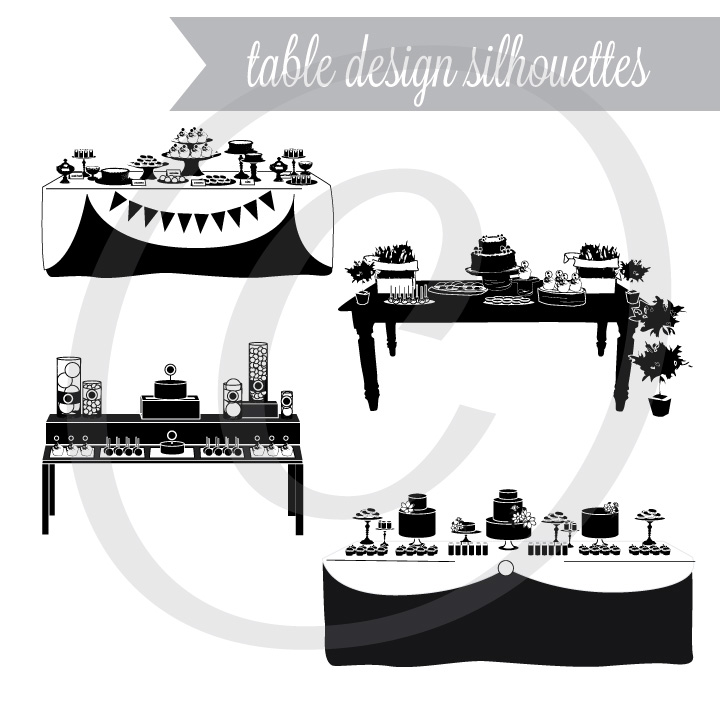 Table Design Silhouettes Graphic Set