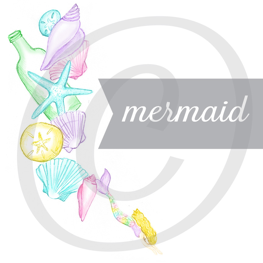Mermaid Hand Illustrated Graphic