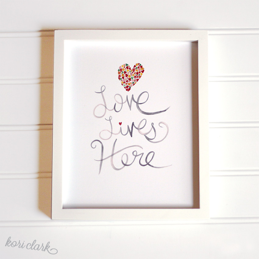 Love Lives Here Watercolor Print