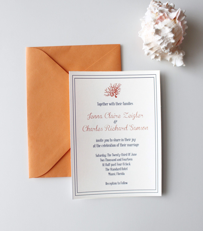 Summer Coral Wedding Invite B