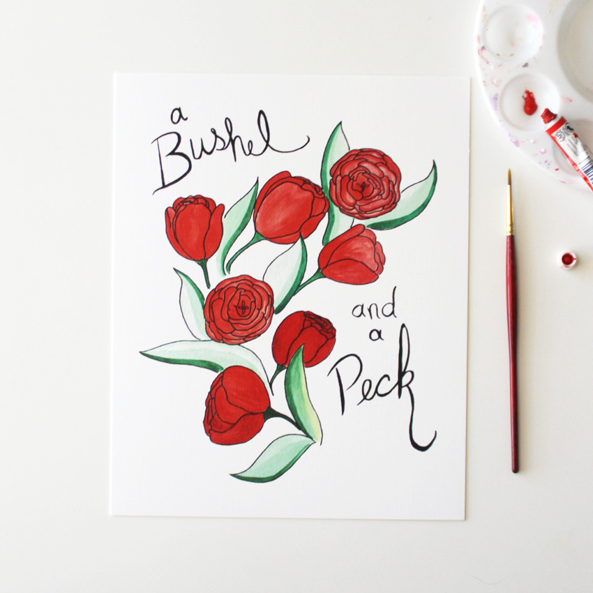 Bushel and a Peck Watercolor Print