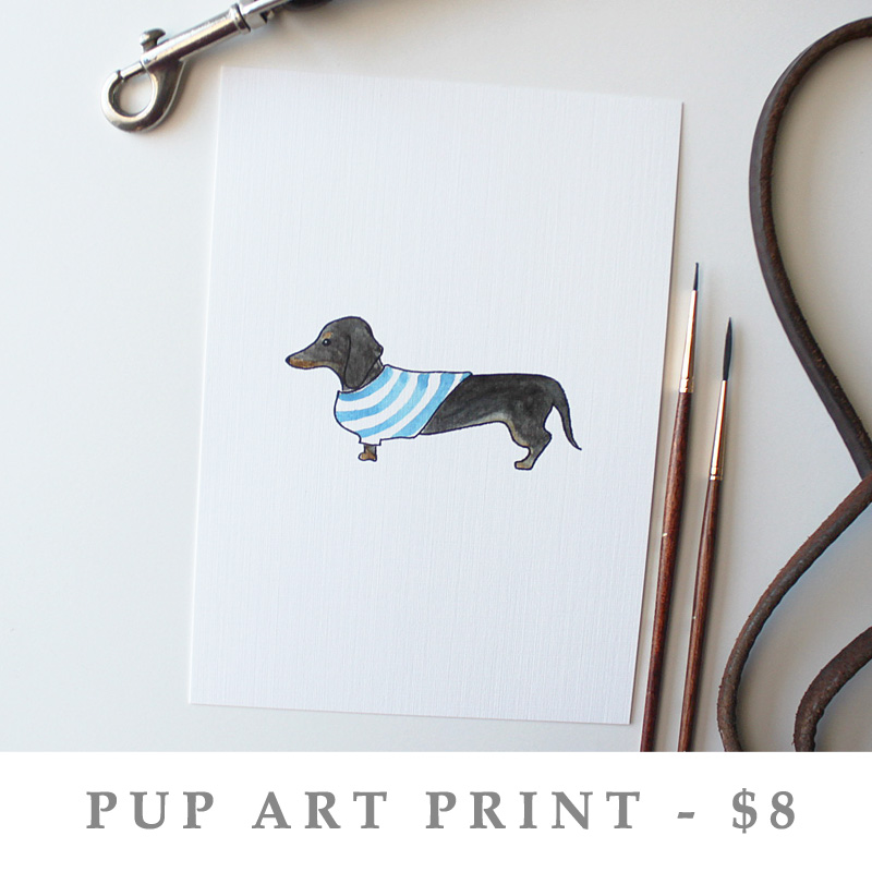 Pup Art Print - Black & Tan Dachshund