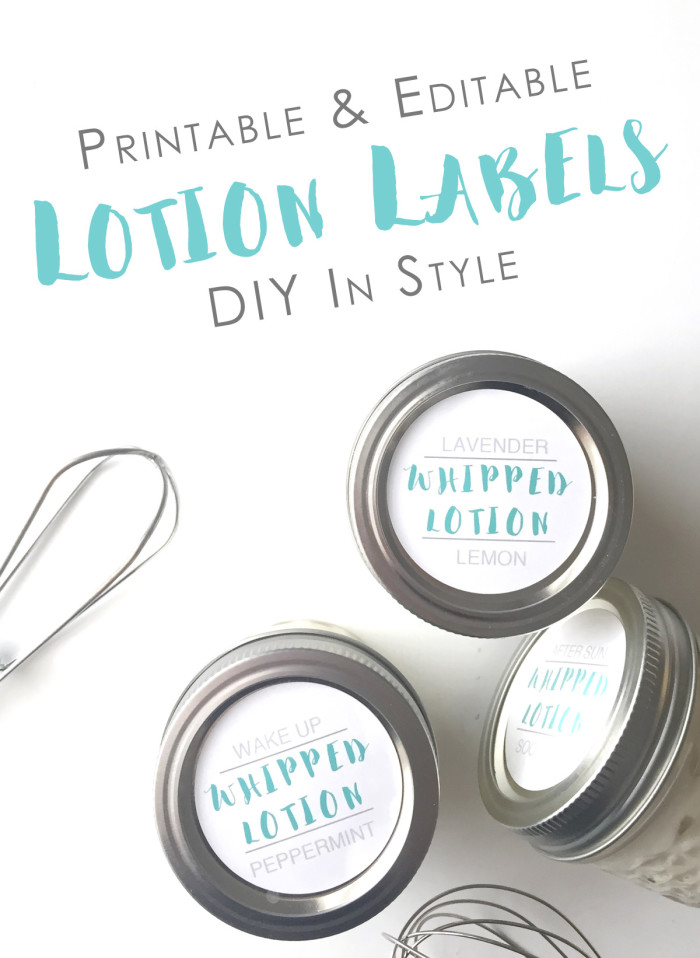 Editable Printable Lotion Labels