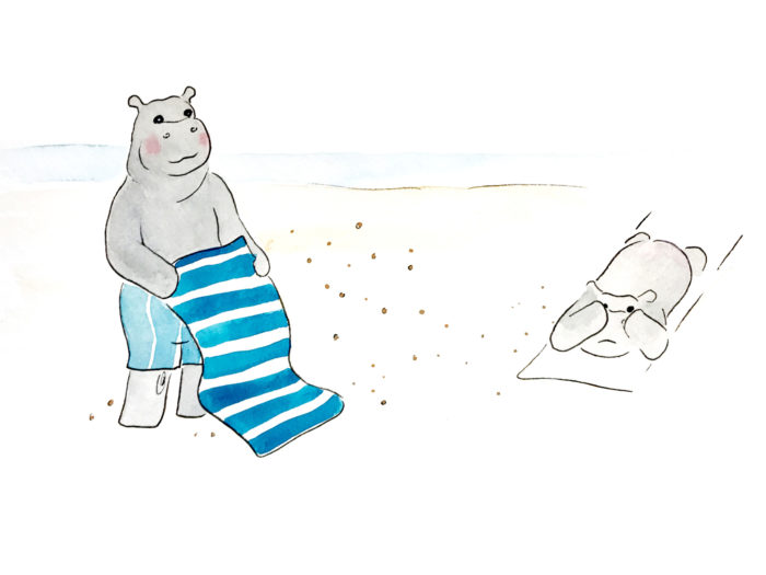 Don't remove sand from your towel near anybody
