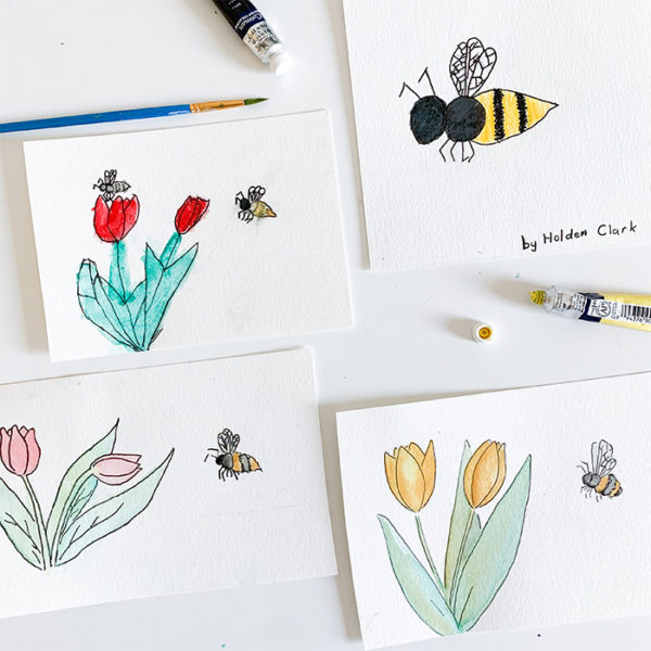Bees & Tulips Tutorial with the Kids!